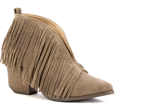The Taupe Brooke Fringe Booties