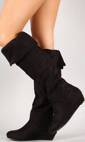 Soft Fold-Over Wedge Boots