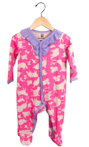 Animal Party Ruffle Footie-Pink