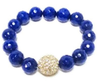 Agate Beads and Pave Bracelet