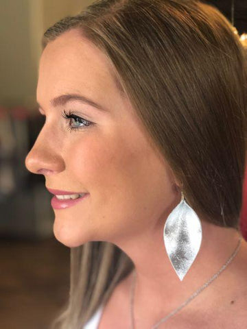 Small Silver Leather Earrings