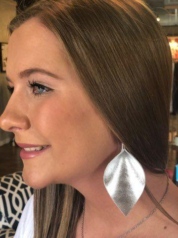 Shiny Silver Wide Pinched Earrings