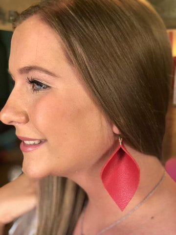 Red Wide Pinched Earrings