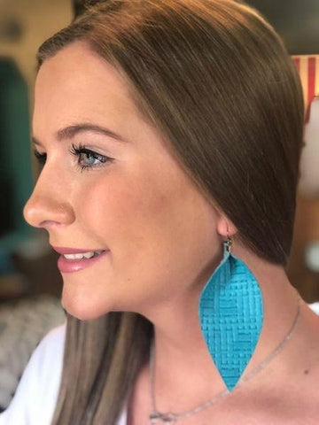Teal Hatched Leather Earrings