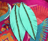 Narrow Feather Leather Earrings