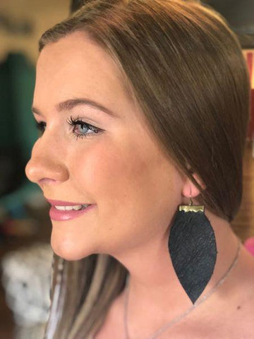 Solid Flat Leather Earrings
