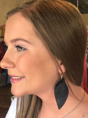 Small Pinched Leather Earrings
