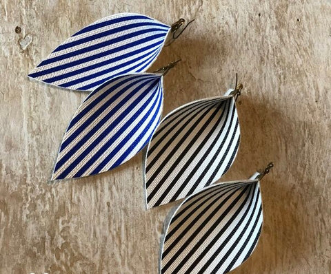 Nautical Stripe Faux Earrings