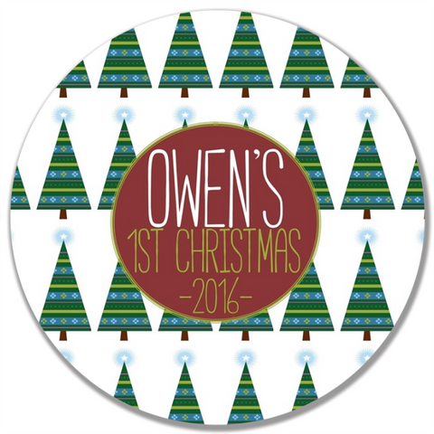 Trees of Christmas Plate-Green