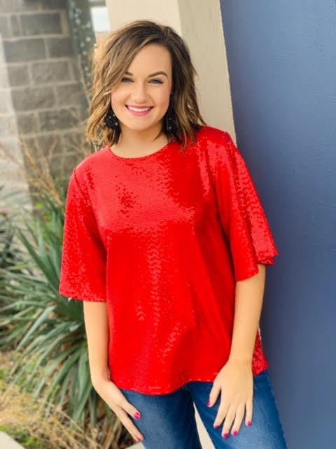 The Ball Drop Sequin Top in 3 Colors