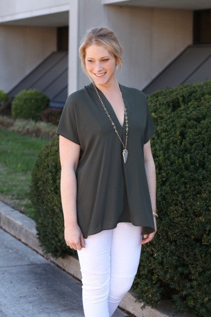 Solid Chiffon V-Neck Tunic