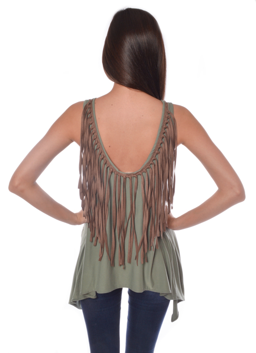 Judith March Jersey Top With Fringe