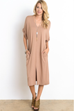 Savannah V-Neck Rolled Dress