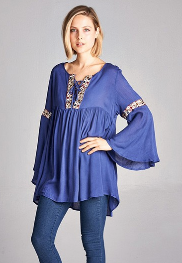 Missy Boho Embellished Tunic Dress