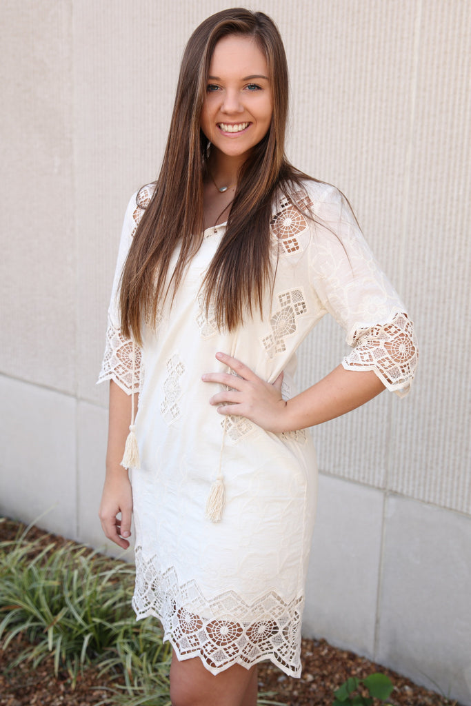 Crochet Lace Tassel Dress