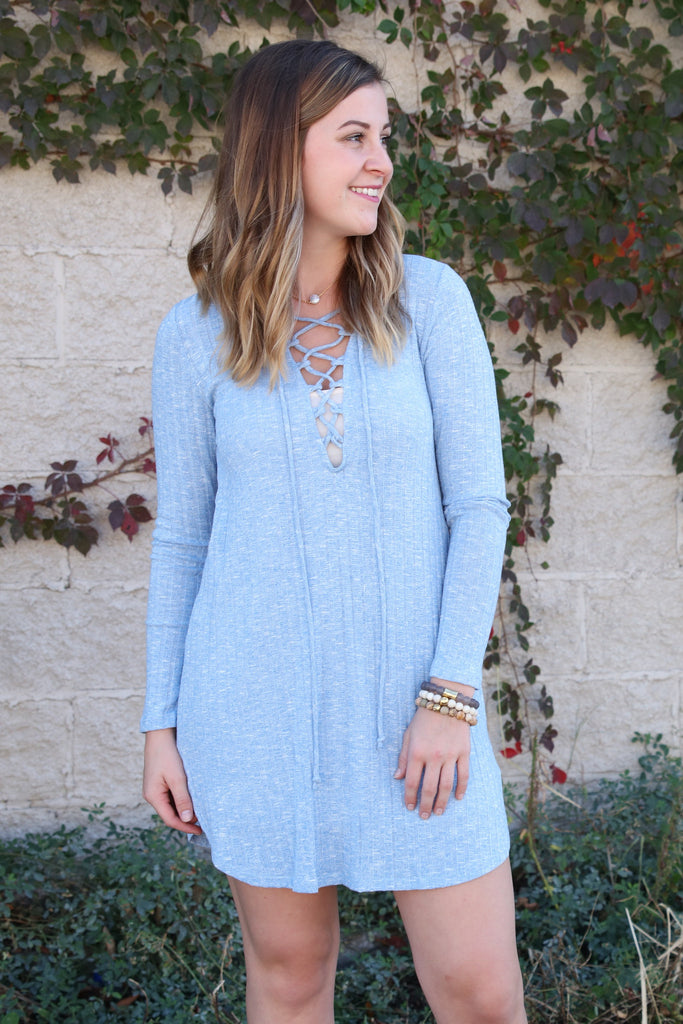 Knit Lace Up Dress