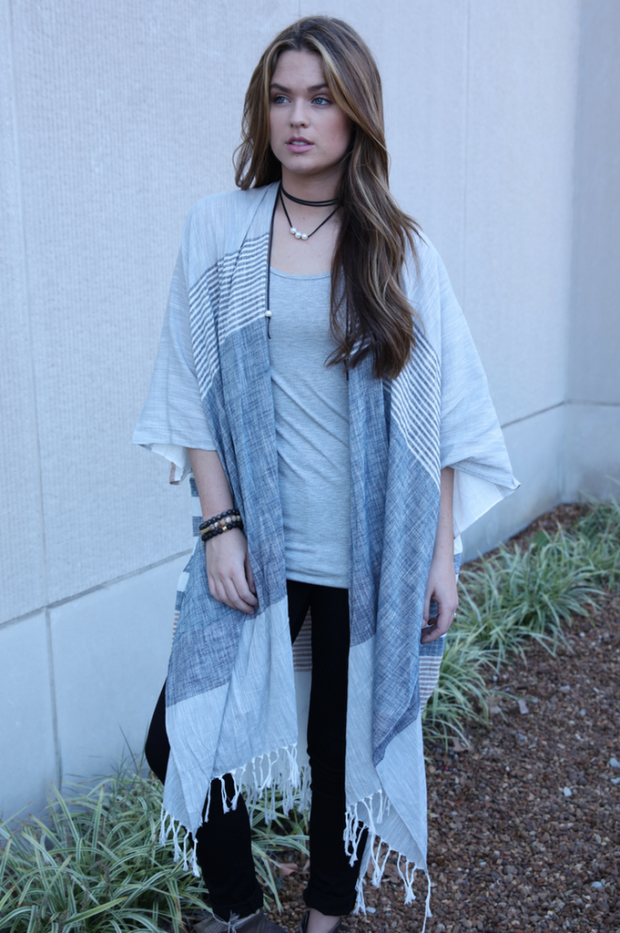 Natural Stripe Tassel Cardigan
