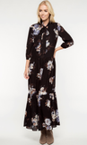 Floral Print Maxi Dress with Front Neck Tie