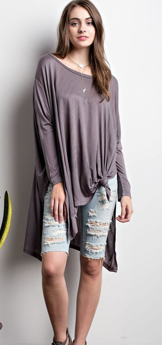 Knotted 3/4 Sleeve Top