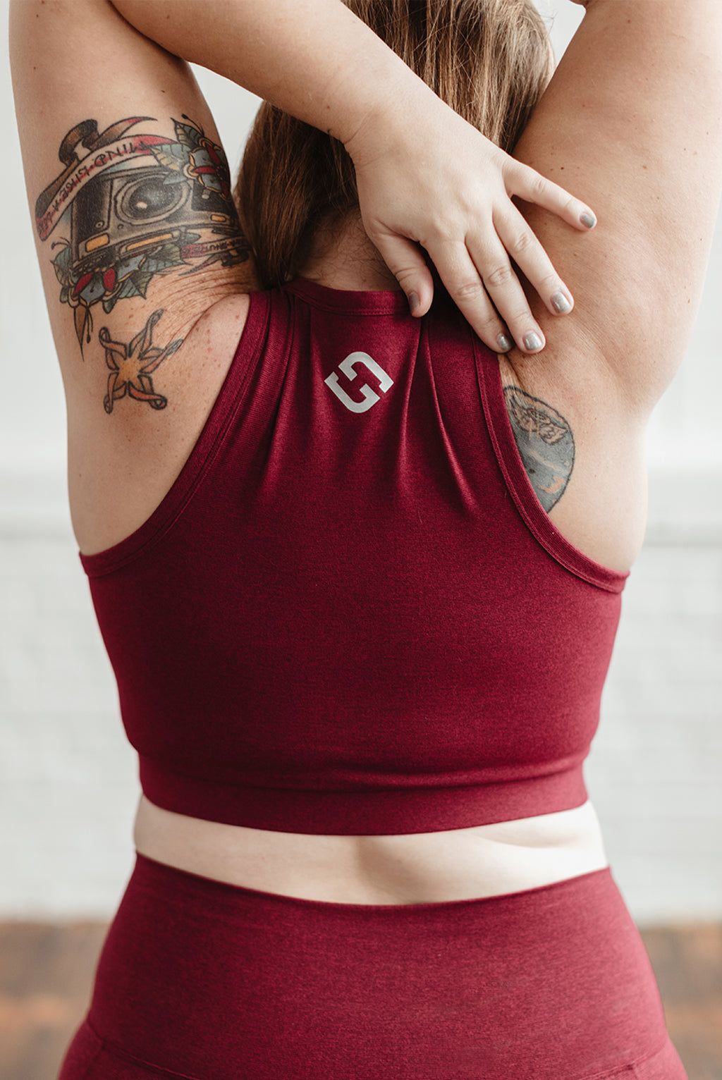 Sport Crop Bra - Red Wine