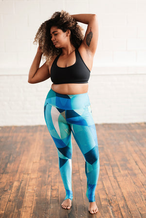 SuperCool Pocket Leggings - Blue Green Print