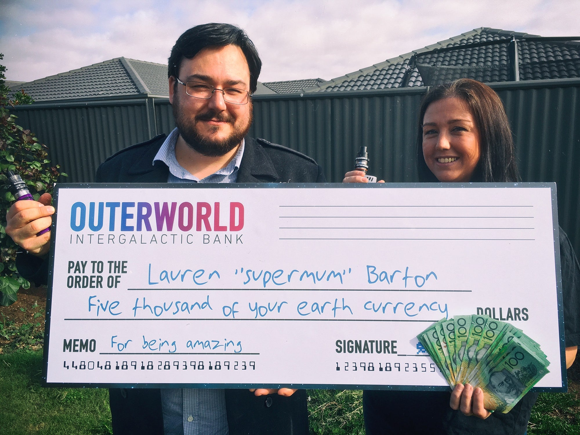 Lauren Barton, winner of the Outerworld $5,000 Trip of a Lifetime Competition