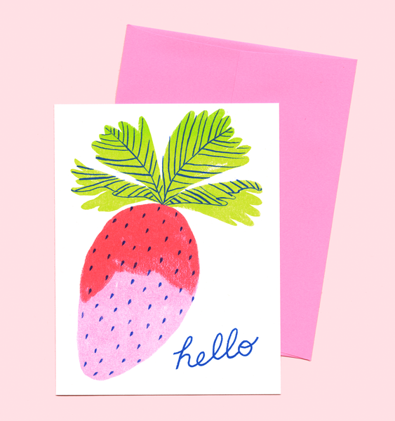 HELLO STRAWBERRY CARD | SINGLE CARD + ENVELOPE
