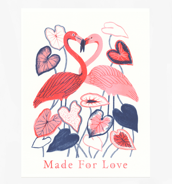 MADE FOR LOVE FLAMINGO ART PRINT