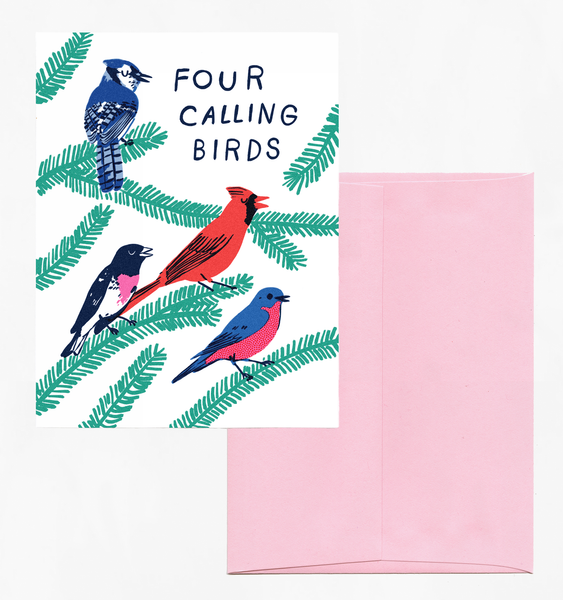 CALLING BIRDS CARD | SINGLE CARD + ENVELOPE