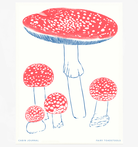RED FAIRY TOADSTOOL ART PRINT