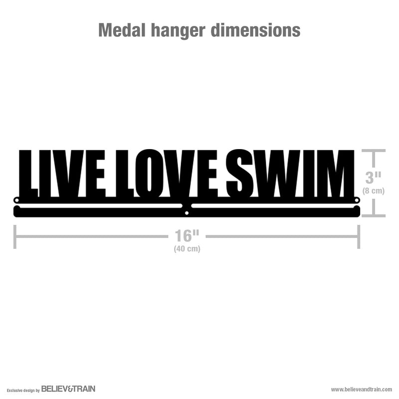 Live Love Swim Phrase - Swimming Medal Hanger