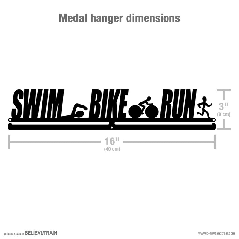 Swim Bike Run Men - Motivational Triathlon Medal Hanger