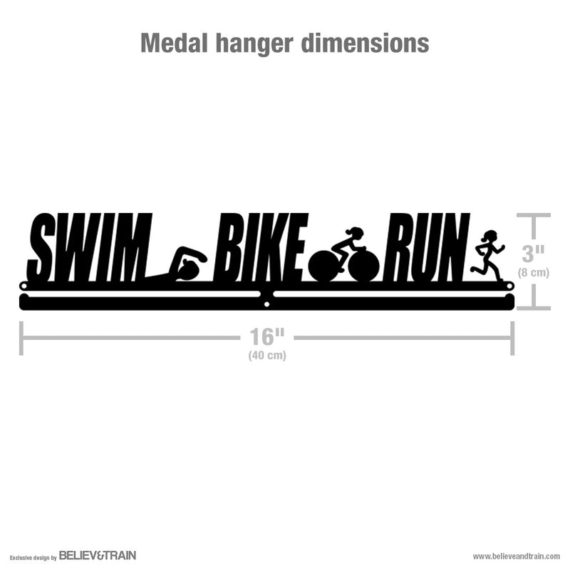 Swim Bike Run Women - Motivational Triathlon Medal Hanger
