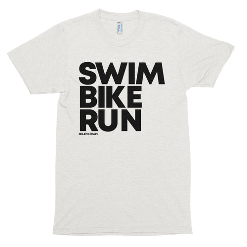 Swim Bike Run Big Letters - T-Shirt