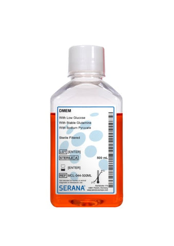 DMEM, 500 ml, With Low Glucose, Stable Glutamine, and Sodium Pyruvate.