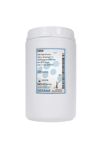 DMEM, Makes 50L, With High-Glucose, and L-Glutamine. Without Sodium Pyruvate.