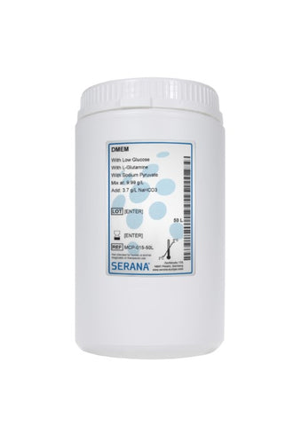DMEM, Makes 50L, With Low Glucose, L-Glutamine and Sodium Pyruvate.