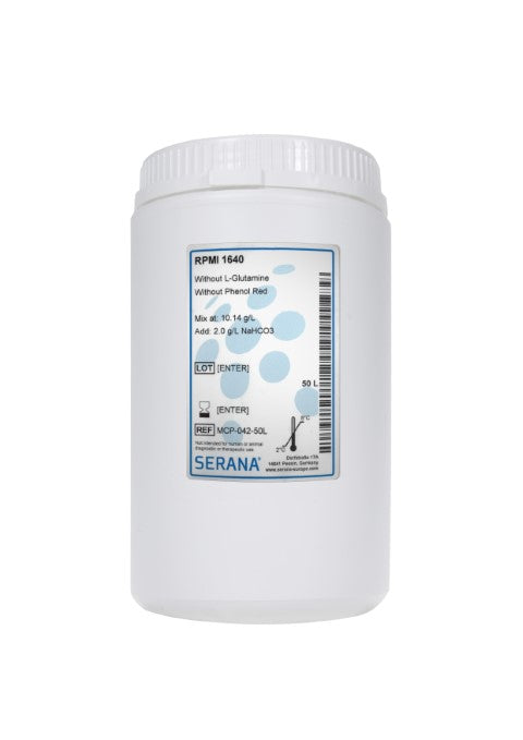 RPMI 1640, Makes 50L, Without L-Glutamine and Phenol Red.