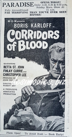 Corridors of Blood  (1958) Press Ad, Karachi