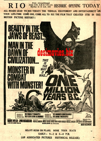 One Million Years B.C. (1968) Press Ad - Karachi 1968