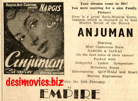 Anjuman (1948) Press Advert -at Empire, Karachi