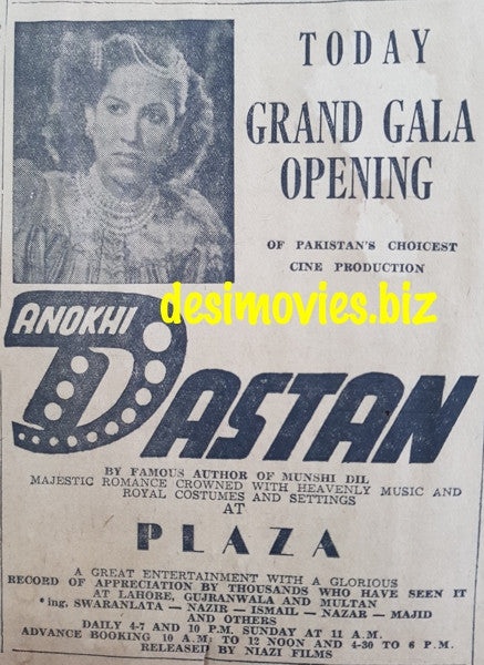 Anokhi Dastan (1950) Press Ad