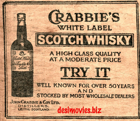 Crabbies Scotch Whiskey (1927) Press Advert 1927