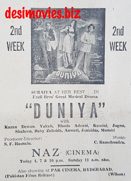Duniya (1949) Press Ad