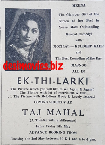 Ek Thi Larkee (1949) Press Advert 1