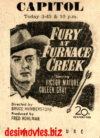 Fury at Furnace Creek (1948) Press Advert -at Empire, Karachi
