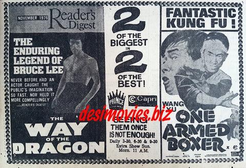 Way of the Dragon & One Armed Boxer (1977) Press Advert
