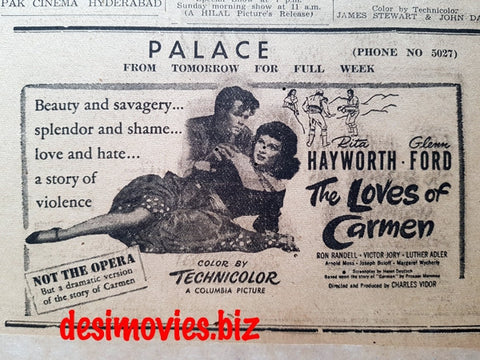 Loves of Carmen, The (1948) Press Advert - Dawn 1949