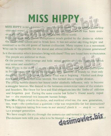 Miss Hippy (1974) Lollywood Original Booklet 1