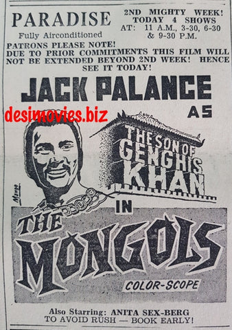 Mongols, The (1968) Press Ad - Co-starring Anita Sex-Berg